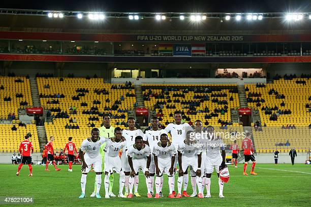 Ghana players pose during the Group B FIFA U20 World Cup New Zealand 2015 match between Ghana and Austria at Wellington Regional Stadium on May 30...
