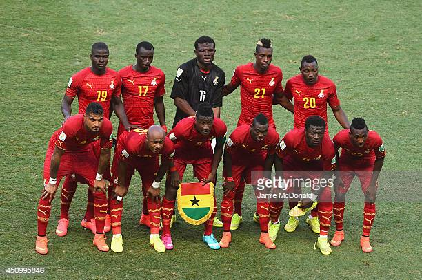 Ghana players pose for a team photo during the 2014 FIFA World Cup Brazil Group G match between Germany and Ghana at Castelao on June 21 2014 in...