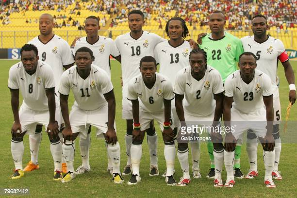 Ghana players pose for a team photo during the AFCON 3rd Place Playoff between Ghana and Ivory Coast held at the Baba Yara Stadium February 9 2008 in...