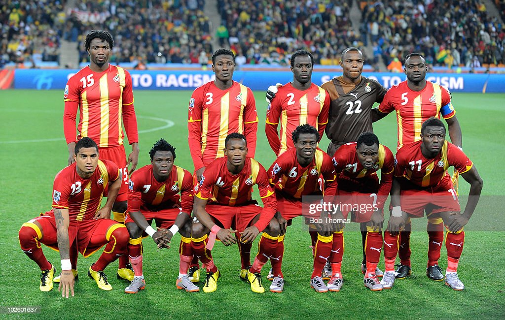 Ghana players pose for a team photo prior to the start of the 2010 FIFA World Cup South Africa Quarter Final match between Uruguay and Ghana at the Soccer City stadium on July 2, 2010 in Johannesburg, South Africa. Back Row (left to right) Isaac Vorsah, Asamoah Gyan, Hans Sarpei, Richard Kingson and John Mensah. Front Row (left to right) Kevin-Prince Boateng, Samuel Inkoom, John Pantsil, Anthony Annan, Kwadwo Asamoah and Sulley Muntari. The match ended 1-1 after extra-time. Uruguay won 4-2 on penalties.