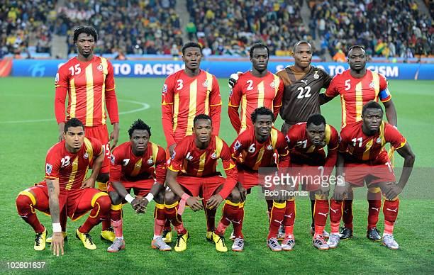 Ghana players pose for a team photo prior to the start of the 2010 FIFA World Cup South Africa Quarter Final match between Uruguay and Ghana at the...