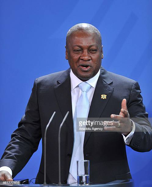 Ghana President John Dramani Mahama delivers a speech during a joint press conference with German Chancellor Angela Merkel at the Chancellery on...
