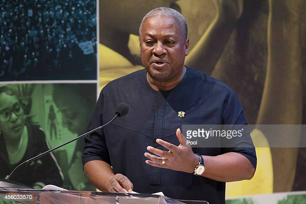 Ghana President John Dramani Mahama speaks during a highlevel meeting at the Ford Foundation on post2015 antipoverty goals on September 24 in New...