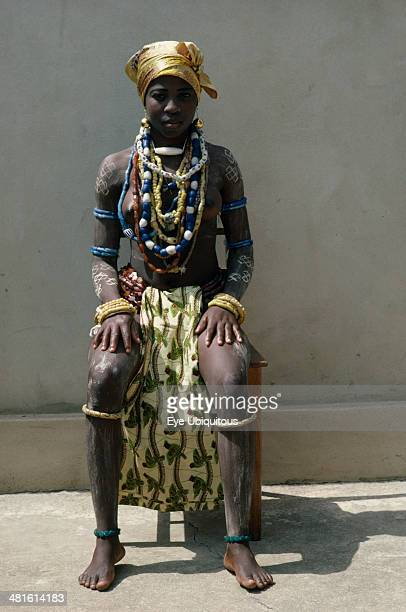 Ghana Tribal People Fante girl at dipa initiation ceremony held at onset of menstruation Every girl receives gifts of jewelry at puberty