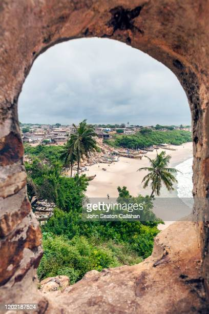 ghana, window at fort good hope on the atlantic ocean - gold coast stock pictures, royalty-free photos & images