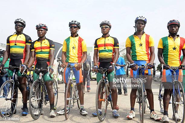 Ghanaian cyclists prepare to participate in ECOWAS International Cycling Tour in Lagos on November 13 2013 The third ECOWAS international Cycling...
