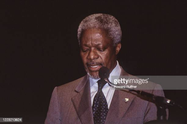 Ghanaian diplomat and Secretary-General of the United Nations Kofi Annan speaks during the Hague Appeal for Peace conference, the Hague, Netherlands,...