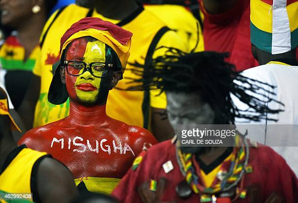 A Ghanaian fan waits for the start of the 2015 African Cup of Nations final football match between Ivory Coast and Ghana in Bata on February 8 2015...
