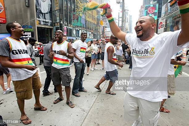 Ghanaian fans celebrate after watching the U.S.- Ghana World Cup game in Times Square on June 22, 2006 in New York City. The U.S. Lost to Ghana 2-1...