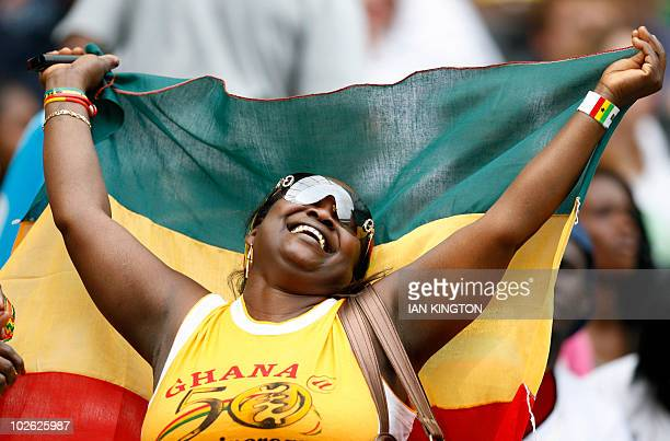 Ghanaian fans celebrates during the match against Latvia during a friendly football match prior to the World Cup 2010 at the MK Stadium in Milton...