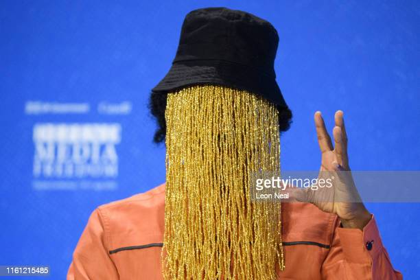 Ghanaian investigative journalist Anas Anas speaks during a discussion at the Global Conference on Press Freedom on July 10 2019 in London England...