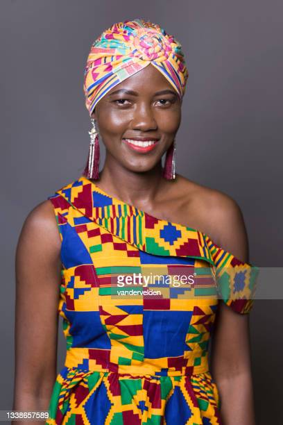ghanaian lady wearing traditional clothes - sleeveless dress stock pictures, royalty-free photos & images
