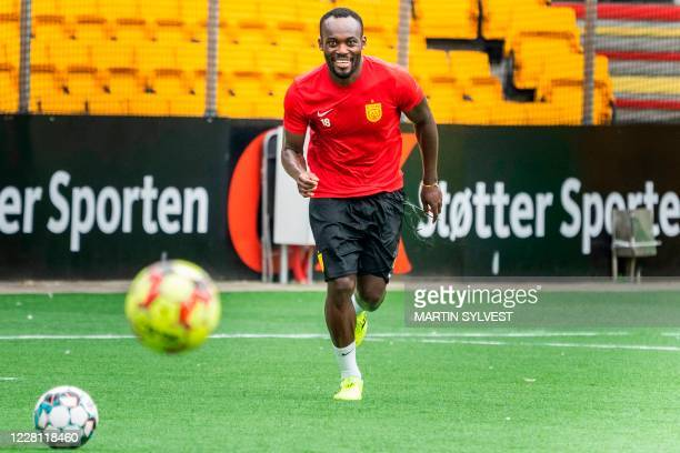 Ghanaian midfielder and former Chelsea player Michael Essien takes part in a training session with Denmark's football club FC Nordsjaelland in Farum...