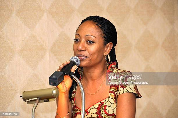 Ghanaian politician Samia Nkrumah delivers a speech during a visit to Malcolm X College Chicago Illinois September 4 2009