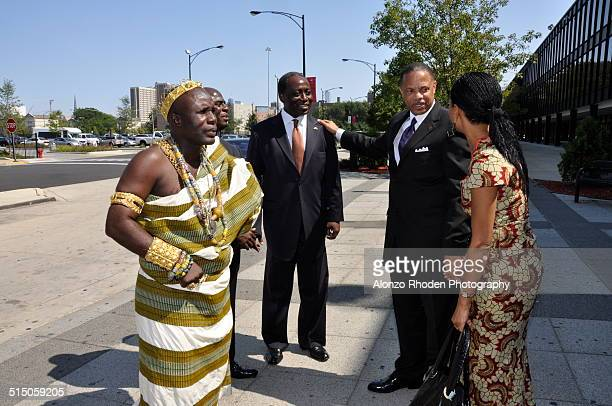 Ghanaian politician Samia Nkrumah meets with staff during a visit to Malcolm X College Chicago Illinois September 4 2009