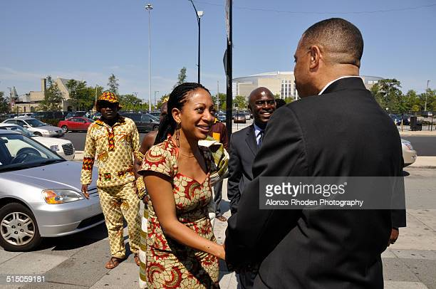 Ghanaian politician Samia Nkrumah meets with students and staff during a visit to Malcolm X College Chicago Illinois September 4 2009