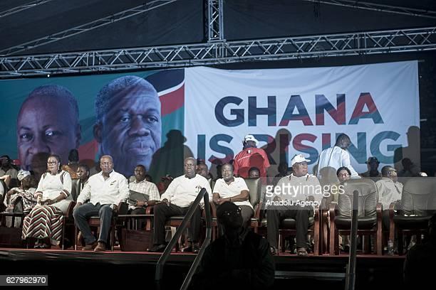 Ghanaian President John Dramani Mahama and his wife Lordina Mahama Vice President of the Republic of Ghana Kwesi AmissahArthur attend a rally...