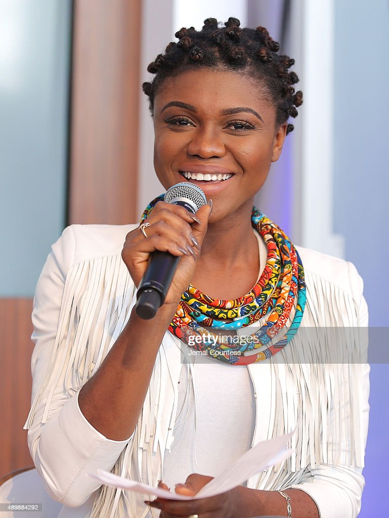 Ghanaian Singer/actress Becca speaks at the premiere of Global Goals 60 second Cinema Ad at the United Nations on September 24, 2015 in New York City.