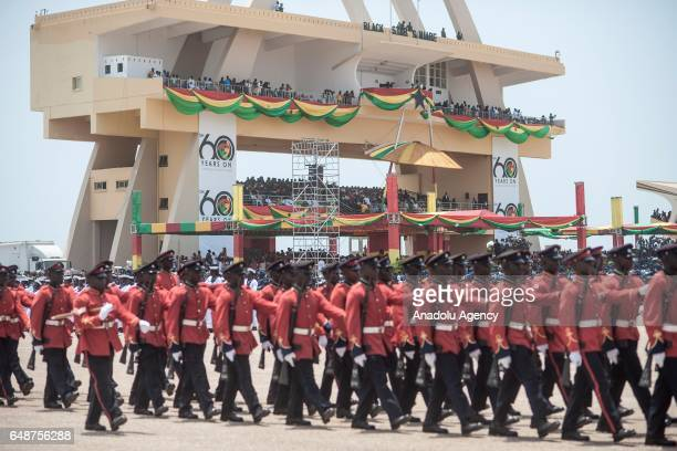 Ghanaian soldiers parade during the celebrations held for the 60th anniversary of Ghana's Independence at the Independence Square in Accra Ghana on...