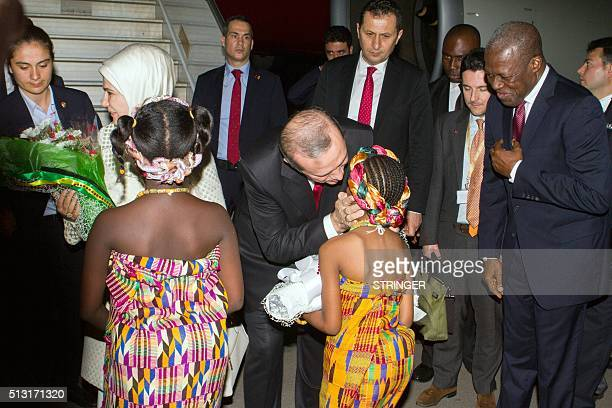 Ghanaian Vice President Kwesi Bekoe AmissahArthur welcomes Turkish President Recep Tayyip Erdogan and his wife upon their arrival in Accra on...