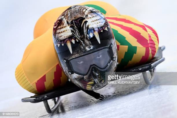 TOPSHOT Ghana's Akwasi Frimpong takes part in a training session for the men's skeleton event at the Olympic Sliding Centre during the Pyeongchang...