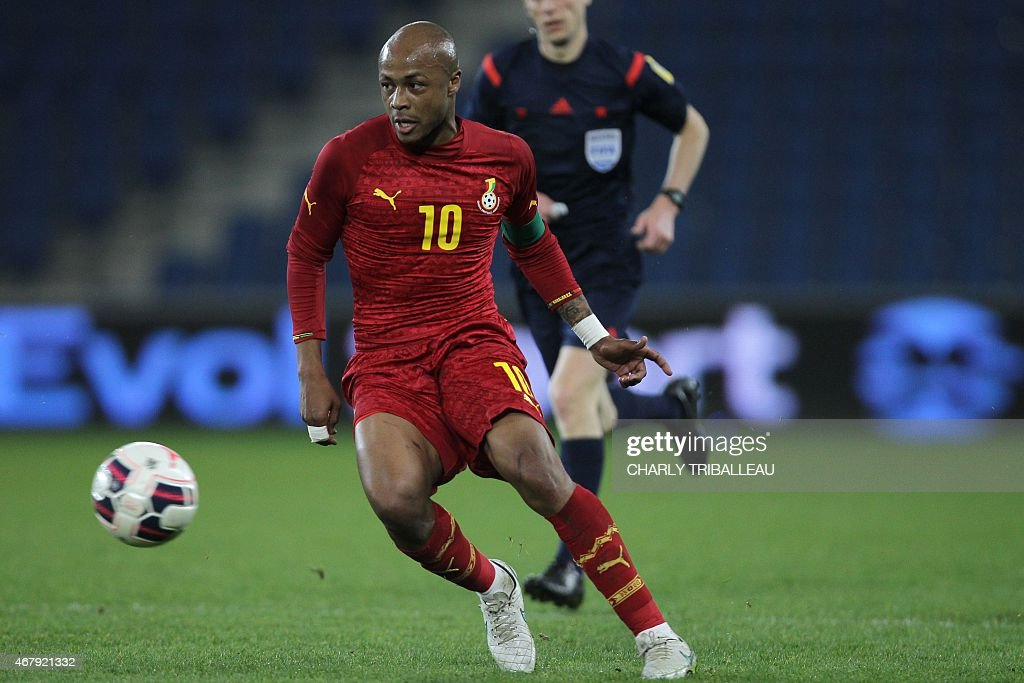 Ghana's Andre Ayew passes the ball during the International Friendly football match between Senegal and Ghana on March 28, 2015 at the Oceane stadium, in Le Havre, northwestern France.
