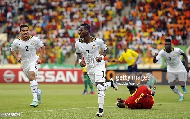 Ghana's Christian Atsu celebrates his goal against Guinea during the 2015 African Cup of Nations quarter final match between Ghana and Guinea at...
