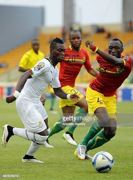 Ghana's Christian Atsu in action against Guinea's Djibril Paye during the 2015 African Cup of Nations quarter final match between Ghana and Guinea at...
