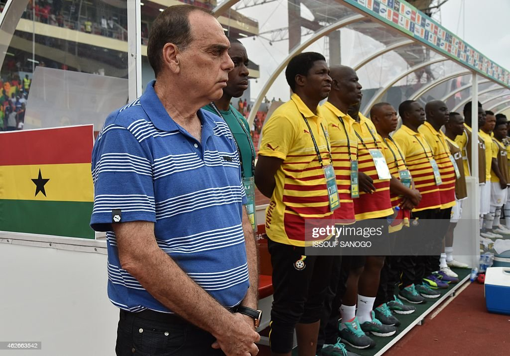 Ghana's coach Avraham Grant stands still during the 2015 African Cup of Nations quarter final football match between Ivory Coast and Algeria in Malabo, on February 1, 2015.