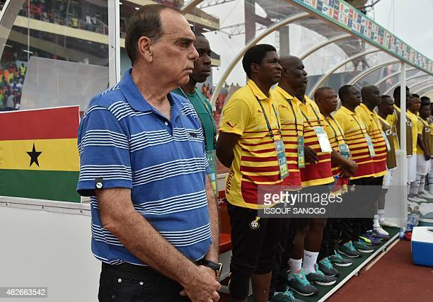 Ghana's coach Avraham Grant stands still during the 2015 African Cup of Nations quarter final football match between Ivory Coast and Algeria in...