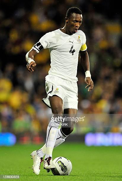 Ghana's defender John Pantsil during their International friendly football match against Brazil at Craven Cottage in London England on September 5...