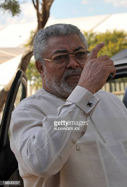 Ghana's former President Jerry Rawlings gestures prior to attend a gala dinner in Bloemfontein on January 7 2012 South Africa's mighty African...