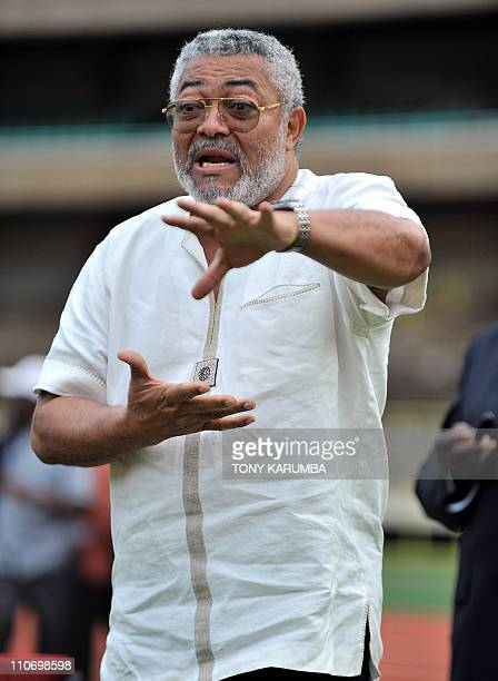 Ghana's former President Jerry Rawlings, who is also the Africa Union High Representative for Somalia, gestures as he speaks to the Black Stars,...