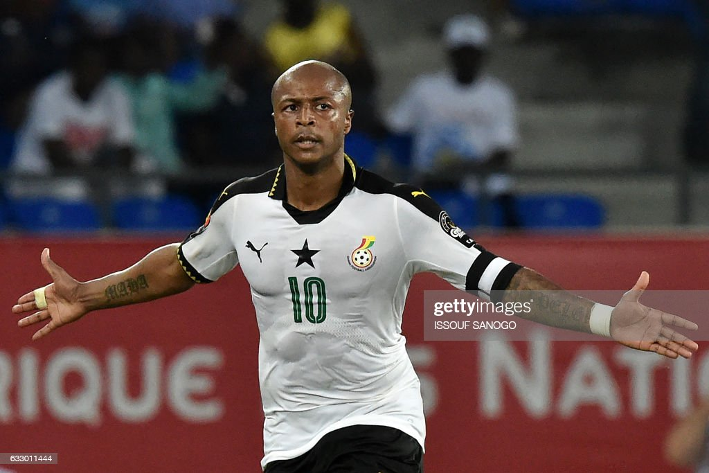 Ghana's forward Andre Ayew celebrates after scoring his team's second goal during the 2017 Africa Cup of Nations quarter-final football match between DR Congo and Ghana in Oyem on January 29, 2017. /