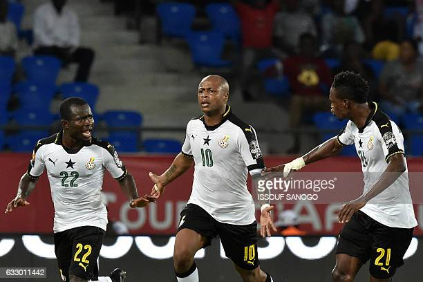 Ghana's forward Andre Ayew celebrates with teammates after scoring his team's second goal during the 2017 Africa Cup of Nations quarterfinal football...