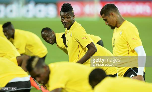 Ghana's forward Asamoah Gyan takes part in a training session at the Das Dunas stadium Natal on June 15 on the eve of their 2014 FIFA World Cup match...