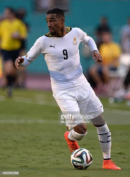 Ghana's forward KevinPrince Boateng dribbles during the friendly match between Ghana and South Korea at Miami Sun Life Stadium in Miami Gardens...