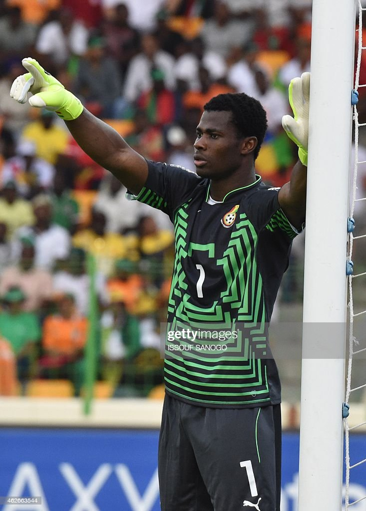 Ghana's goalkeeper Razak Braimah gestures during the 2015 African Cup of Nations quarter final football match between Ivory Coast and Algeria in Malabo, on February 1, 2015.
