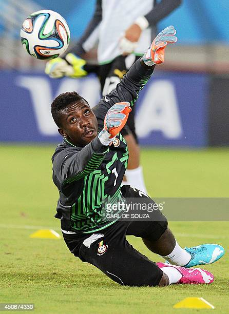 Ghana's goalkeeper Stephen Adams takes part in a training session at the Das Dunas stadium Natal on June 15 on the eve of their 2014 FIFA World Cup...