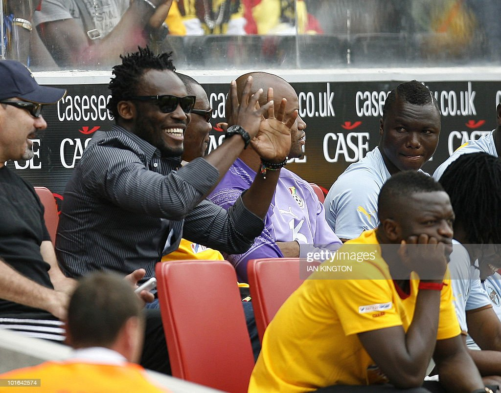 Ghana's Michael Essien gestures whilst watching the match against Latvia, during a friendly football match prior to the World Cup 2010, at the MK Stadium in Milton Keynes, on June 5, 2010.
