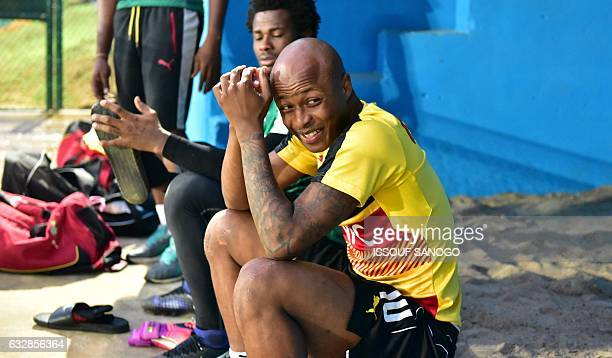Ghana's national football team player Andre Ayew takes part in a training session on January 27 2017 in Oyem ahead of their 2017 Africa Cup of...