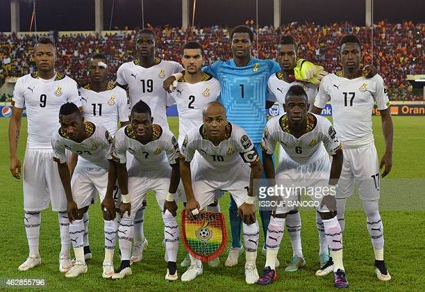 Ghana's national football team players pose in Malabo on February 5 before the Africa Cup of Nations semirfinals match between Ghana and Guinea...
