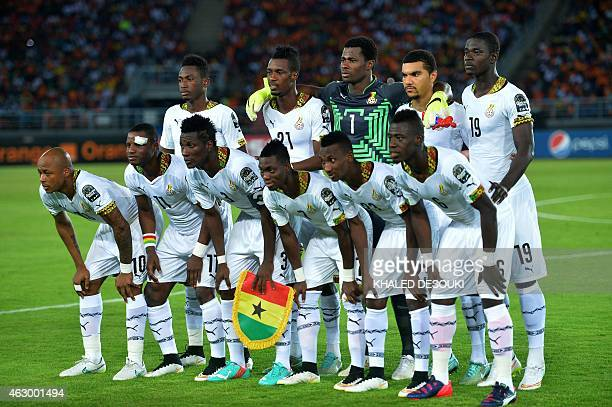 Ghana's players line up ahead of the 2015 African Cup of Nations final football match between Ivory Coast and Ghana in Bata on February 8 2015 AFP...