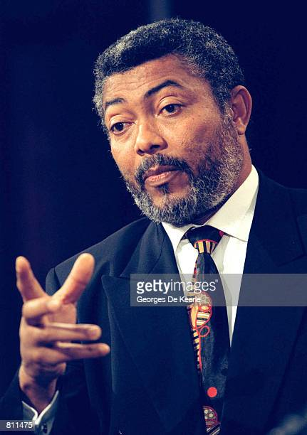 Ghana's President Jerry John Rawlings anwers a question during a press conference with President Bill Clinton at the Old Executive Office Building in...