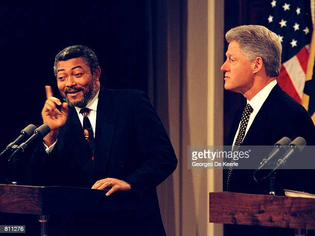 Ghana's President Jerry John Rawlings with President Bill Clinton during a press conference at the Old Executive Office Building in Washington...