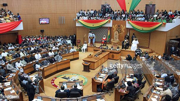 Ghana's President John Dramani Mahama delivers his State of the Nation address at the Parliament on February 25, 2014 in Accra, Ghana. The president...