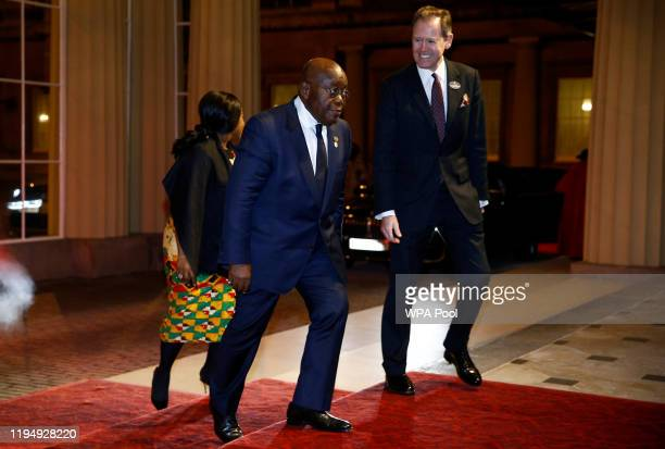 Ghana's President Nana AkufoAddo arrives as Prince William Duke of Cambridge and Catherine Duchess of Cambridge host a reception to mark the UKAfrica...