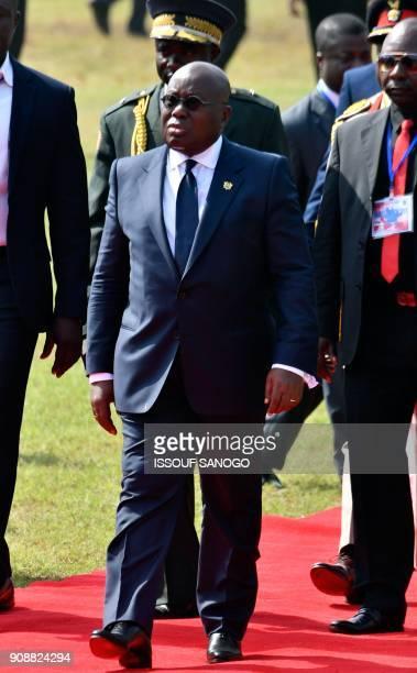 Ghana's President Nana AkufoAddo arrives to attend the swearingin ceremony of Liberia's presidentelect on January 22 2018 in Monrovia's stadium To...