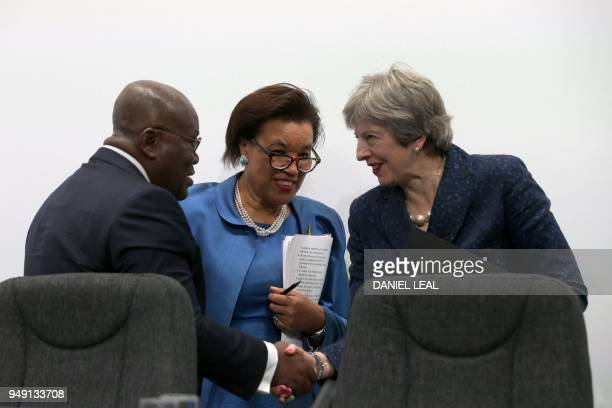 Ghana's President Nana AkufoAddo Commonwealth SecretaryGeneral Patricia Scotland and Britain's Prime Minister Theresa May attend the closing press...