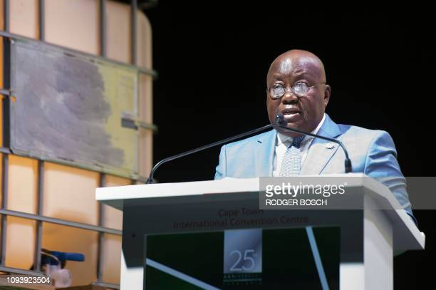 Ghana's president Nana AkufoAddo delivers a speech during the second day of the Mining Indaba Africa's biggest annual mining conference on February 5...